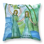 Airy Four Of Wands Illustrated Throw Pillow