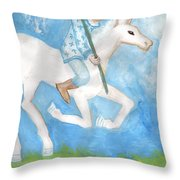 Airy Knight Of Wands Throw Pillow
