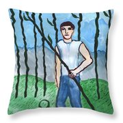 Airy Nine Of Wands Illustrated Throw Pillow
