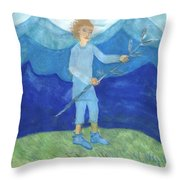 Airy Page Of Wands Throw Pillow