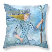Airy Queen Of Wands Throw Pillow