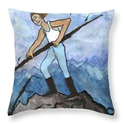 Airy Seven Of Wands Illustrated Throw Pillow