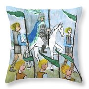 Airy Six Of Wands Illustrated Throw Pillow