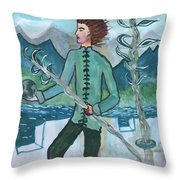 Airy Two Of Wands Illustrated Throw Pillow
