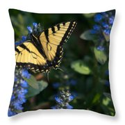 Ajuga With Tiger Butterfly Throw Pillow