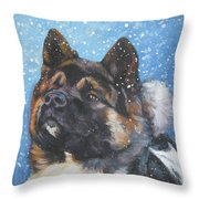 Akita In Snow Throw Pillow