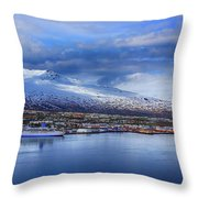 Akureyri Port Throw Pillow