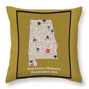 Alabama Loves Dogs Throw Pillow
