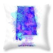 Alabama Map Watercolor 2 Throw Pillow