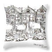 Alamo Square - Painted Ladies Throw Pillow
