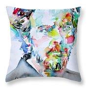 Alan Watts Watercolor Portrait Throw Pillow