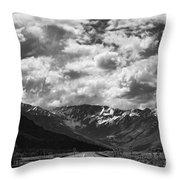 Alaska Bw On The Road  Throw Pillow