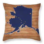 Alaska Map And Flag On Wood Throw Pillow
