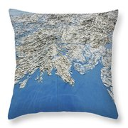 Alaska Map Wall Art Throw Pillow