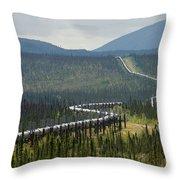 Alaska Pipeline Heading South Thru Throw Pillow