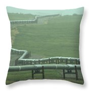 Alaska Pipeline Snakes Its Way Throw Pillow