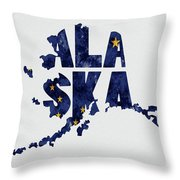 Alaska Typography Map Flag Throw Pillow