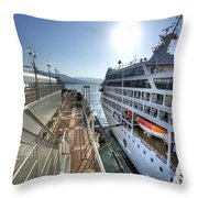 Alaskan Cruise Ship Berthed In Vancouver Throw Pillow