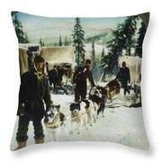 Alaskan Dog Sled, C1900 Throw Pillow