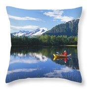 Alaskan Kayaker Throw Pillow