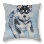 alaskan Malamute pup in snow Throw Pillow