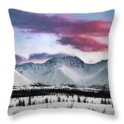 Alaskan Range At Sunset Throw Pillow