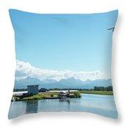 Alaskan Seaplane Base Throw Pillow