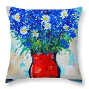 Albastrele Blue Flowers And Daisies Throw Pillow by Ana Maria Edulescu