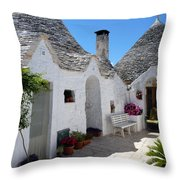 Alberobello Courtyard With Trulli Throw Pillow