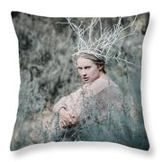 Albino In Forest Throw Pillow