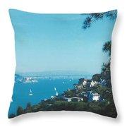 Alcatraz And San Francisco - Oakland Bay Bridge  Throw Pillow