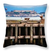 Alcatraz Beyond The Pier Throw Pillow