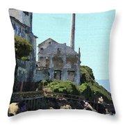 Alcatraz Island - Palette Knife Throw Pillow