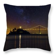 Alcatraz Island Under The Starry Night Sky Throw Pillow