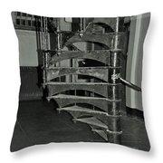 Alcatraz Stairs In Bw Throw Pillow