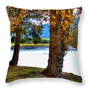 Alder Lake In The Fall Throw Pillow