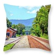 Alderson Train Depot And Tracks Alderson West Virginia Throw Pillow