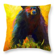 Alert - Black Bear Throw Pillow
