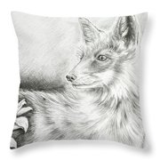 Alert Fox  Throw Pillow