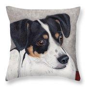 Alert Little Rat Terrier  Throw Pillow