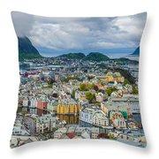 Alesund Norway Cityscape Throw Pillow