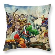 Alexander The Great At The Battle Of Issus  Throw Pillow