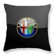 Alfa Romeo - 3 D Badge On Black Throw Pillow