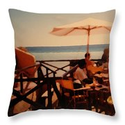Algarve Beach Bar Throw Pillow