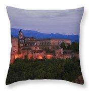 Alhambra Granada Dusk Throw Pillow