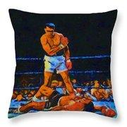 Ali Over Liston Throw Pillow