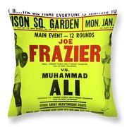 Ali Vs Frazier Boxing Poster Throw Pillow