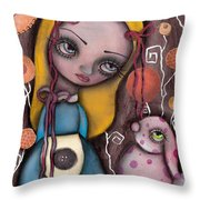Alice And The Pink Bunny Throw Pillow