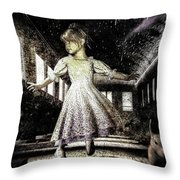 Alice And The Rabbit Throw Pillow by Bob Orsillo