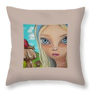 Alice Finds A Snail Throw Pillow